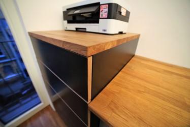 Druckerschrank mit Schubkästen, Höhe ausgerichtet für ergonomisches Arbeiten