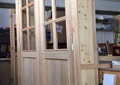 Neubau 2-flügelige Zimmertür mit Zarge aus Kiefer mit Füllung und Sprossenfeldern